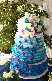 bolo 15 anos azul com borboletas