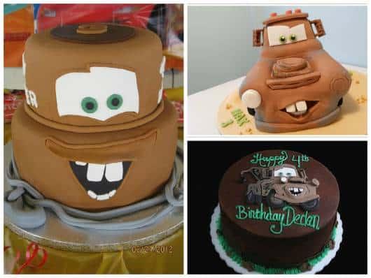 bolo chocolate personagem Mate Carros