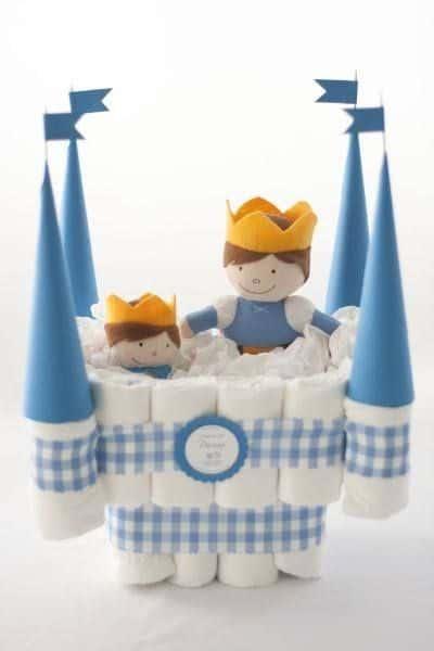 bolo fraldas castelo menino
