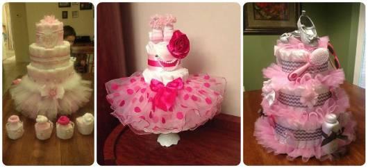 modelos de bolo fraldas rosa