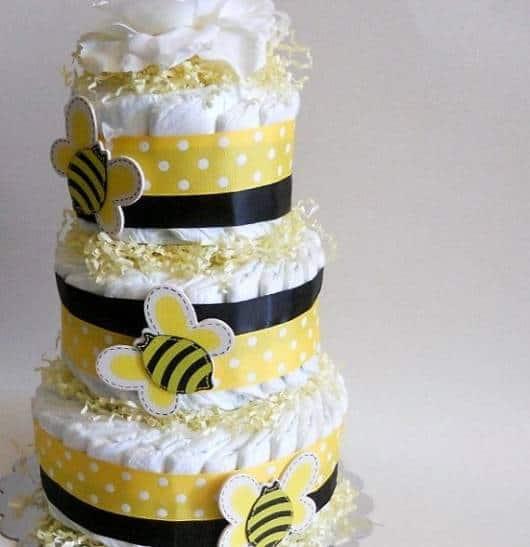 bolo fraldas abelha