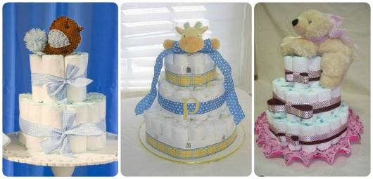ideias de bolo de fraldas simples