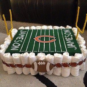 bolo de fraldas campo de futebol