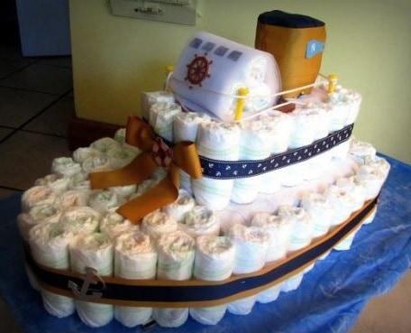 bolo fraldas navio