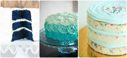 modelos de bolo azul e branco