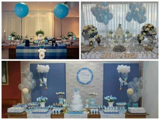 ideias para mesa de chá de bebê azul e branco