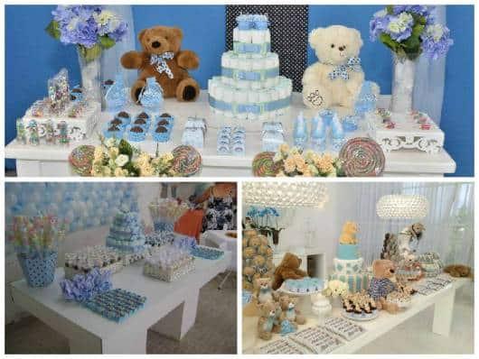 ideias de chá de bebê azul e branco
