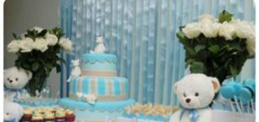 como decorar mesa chá de bebê azul e branco