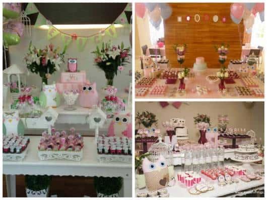 ideias de chá de bebê corujinhas rosa