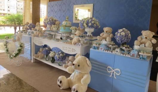 chá bebê provençal azul e branco
