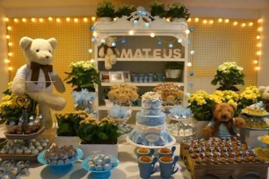 chá de bebê provençal azul e amarelo