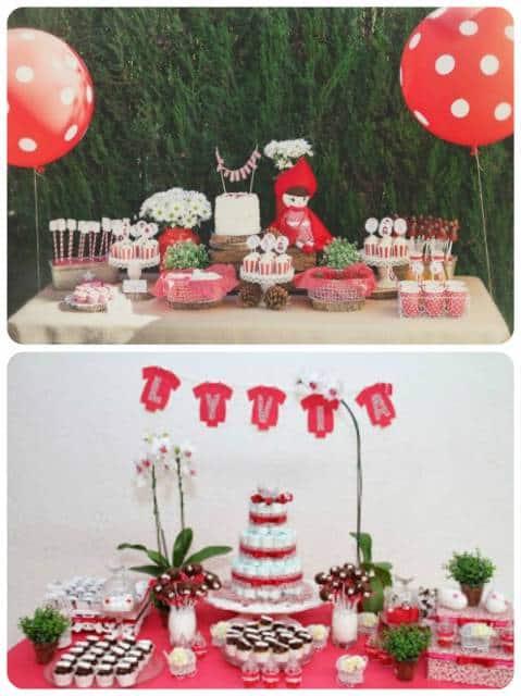 ideias de decoração chá de fraldas vermelho