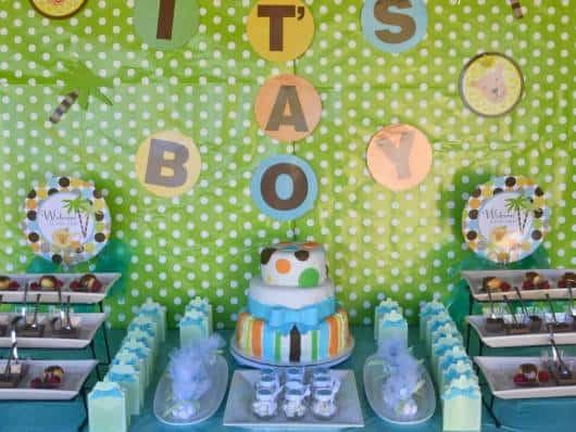 chá de bebê verde e azul
