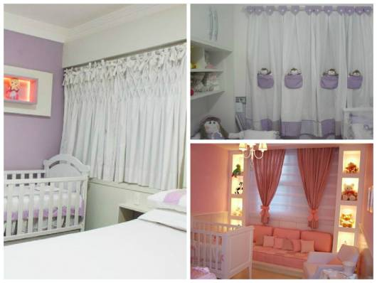 modelos de cortina para quarto de bebê menina