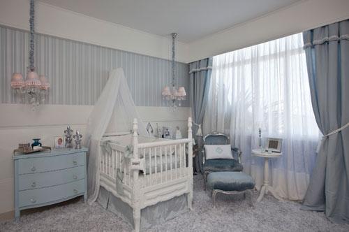 cortina azul quarto de bebê