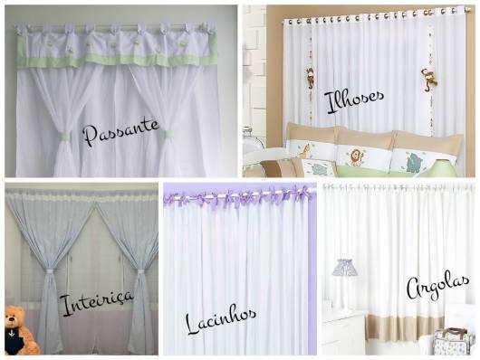 modelos de cortinas de varão para quarto de bebê