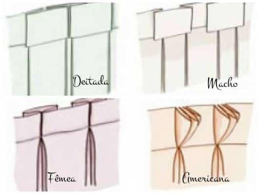 modelos de pregas de cortinas