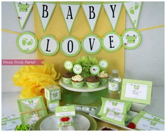decoracao chá de bebê verde azul