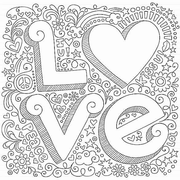 desenho love para quadrinho parede