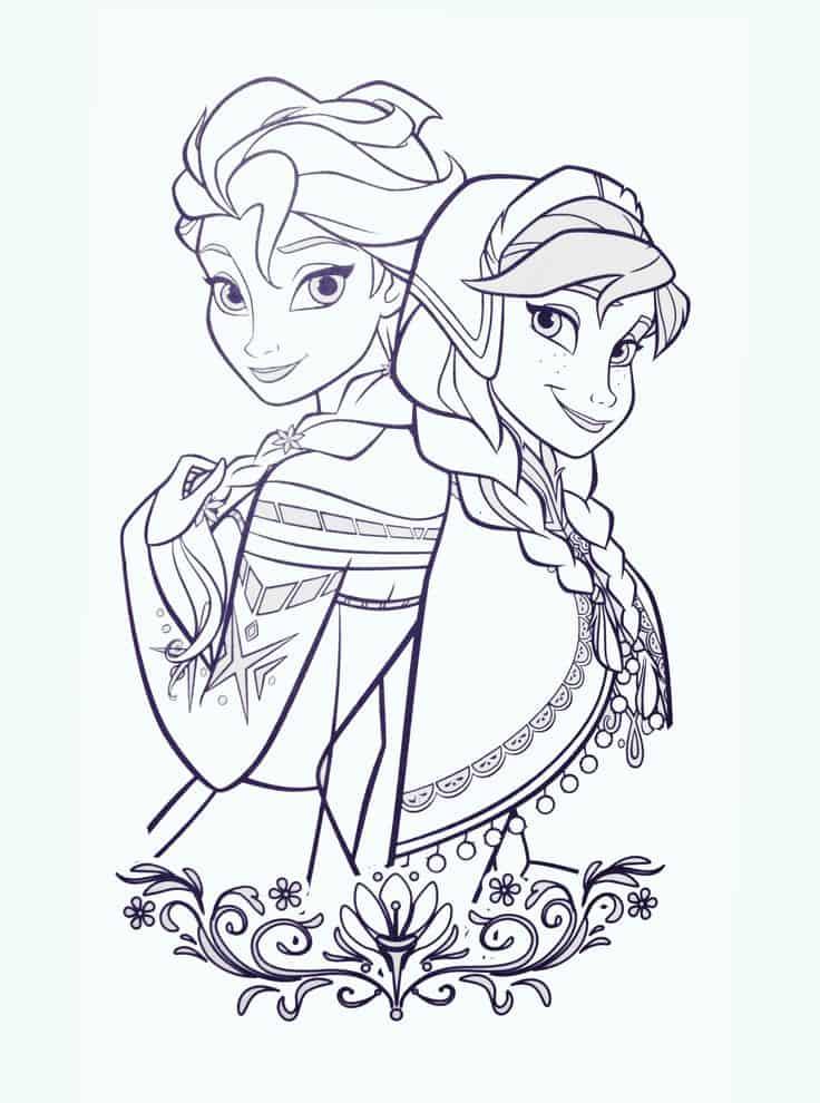 princesas frozen preto e branco