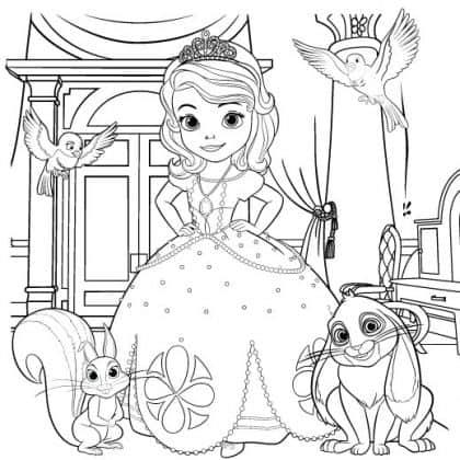 princesa sofia caderno colorir