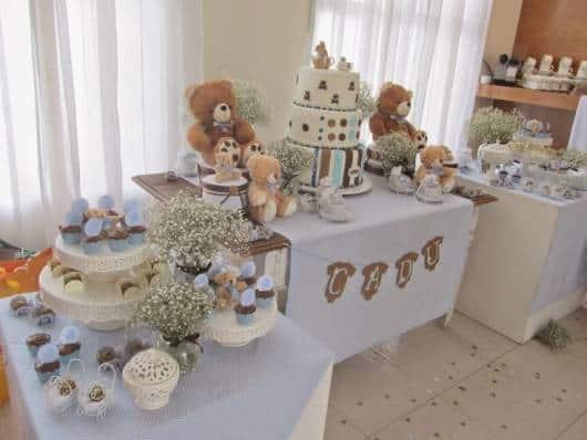 decoração mesa doces azul de chá de bebê