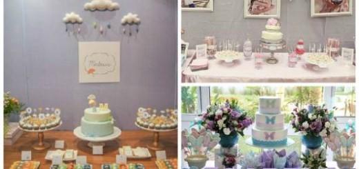 ideias de mesas de doces de chá de fraldas