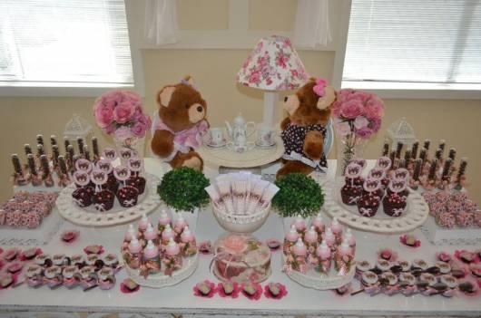 decoração mesa doces chá de bebê menina