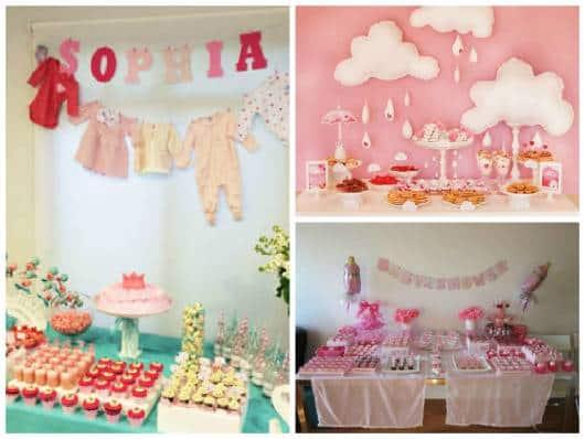 ideias de mesas decoradas chá de bebê de menina