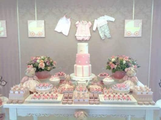 chá de bebê provençal decoração mesa