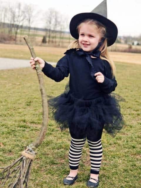 fantasia bruxa infantil preta e branca