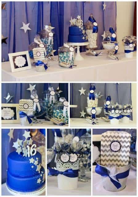 festa 16 anos simples azul escuro