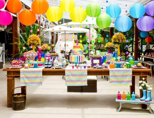festa arco-iris colorida