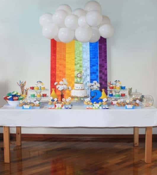 festa arco-iris  em casa