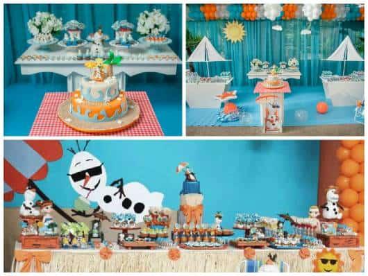 ideias festa do Olaf no verão e na praia