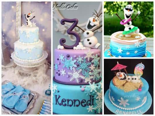 ideias de bolo com pasta americana do Olaf