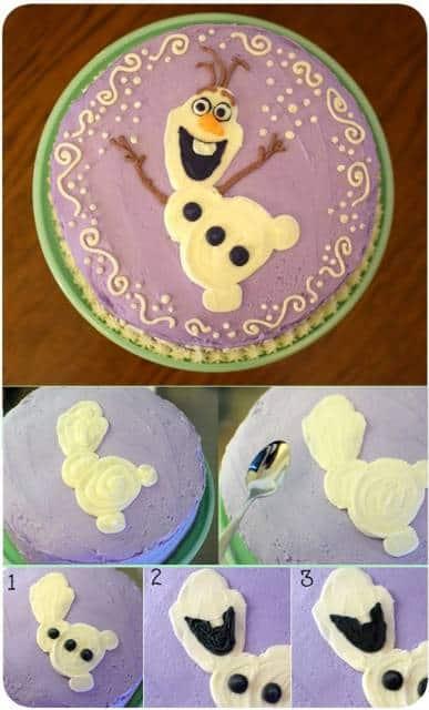 passo a passo de bolo do Olaf