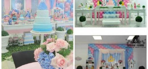 festa cinderela provençal rosa e azul
