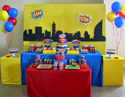 decoração de festa do  super homem