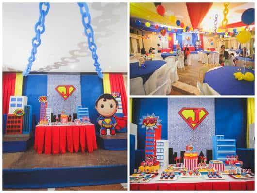 decoração de festa do superman para bebê