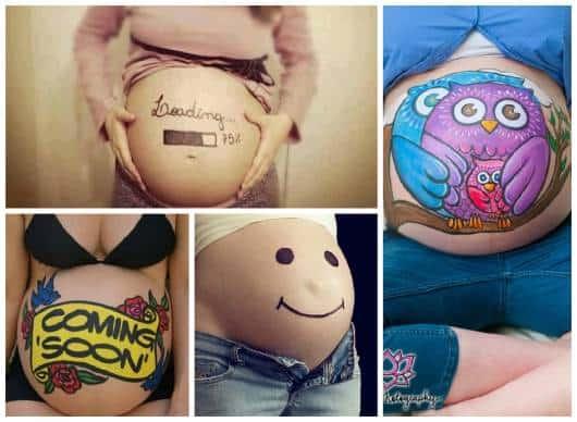 fotos barriga grávida com desenho