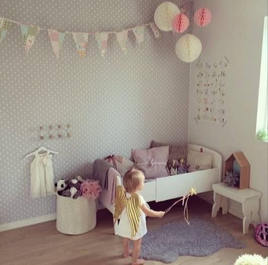Papel de parede para quarto de menina for Decoracion sencilla habitacion nina