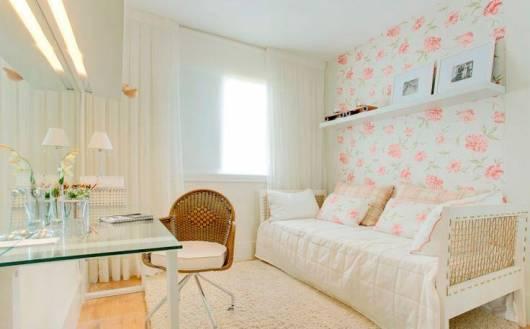 papel de parede floral quarto feminino jovem