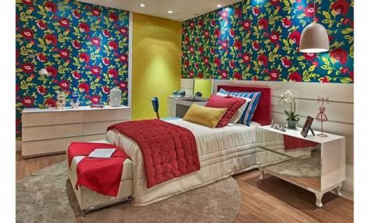 papel de parede moderno quarto jovem menina