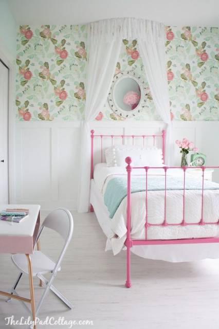 papel de parede floral quarto adolescente