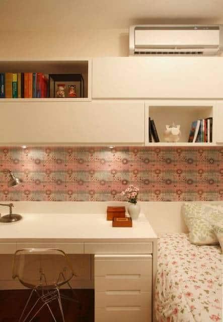 papel de parede rosa quarto adolescente