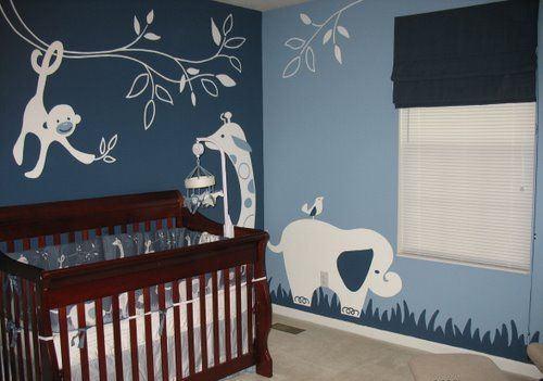 parede azul quarto de bebê