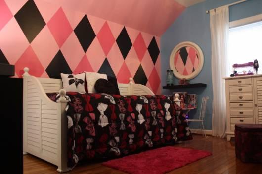 quarto de menina rosa e preto