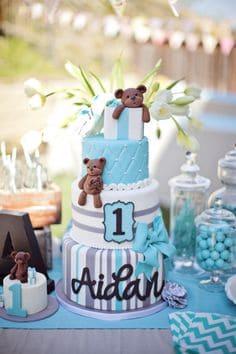 bolo cha de bebe urso azul