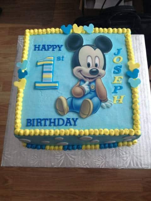 bolo azul e amarelo mickey bebê